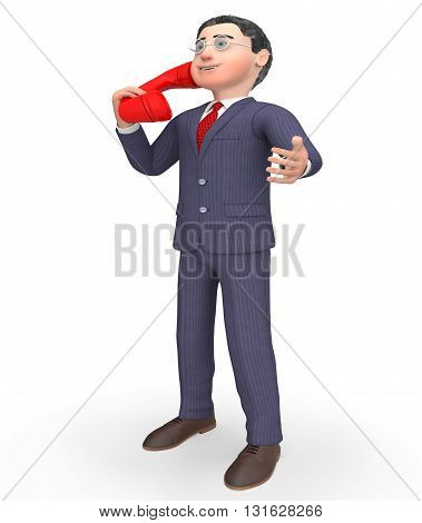 Talking Phone Indicates Call Us And Calling 3D Rendering