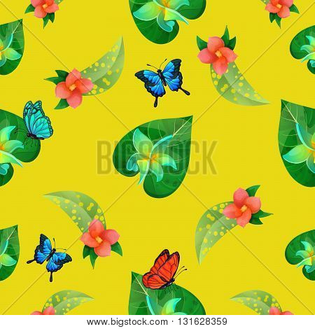 Tropical Flowers Seamless Pattern. Exotic Butterflies Vector illustration