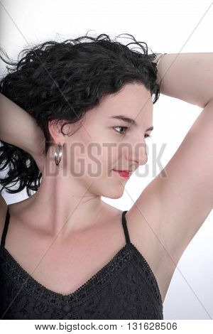 Young Woman In Black Top