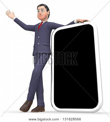 Businessman Copyspace Shows World Wide Web And Blank 3D Rendering