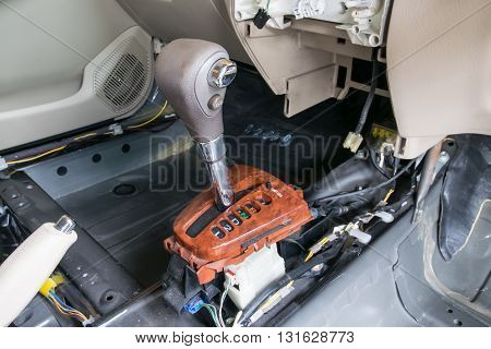 Car interior. Repair a gear shift and knob gear shift removing
