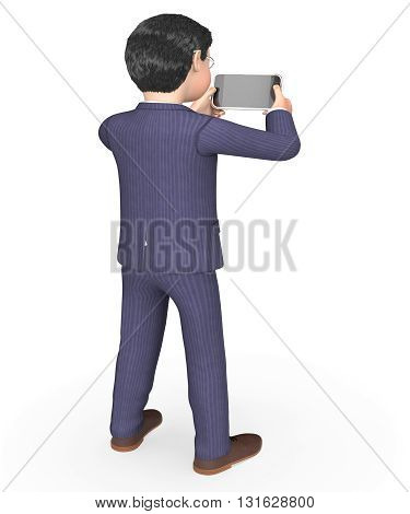 Photo Businessman Indicates Photograph Picture And Executive 3D Rendering