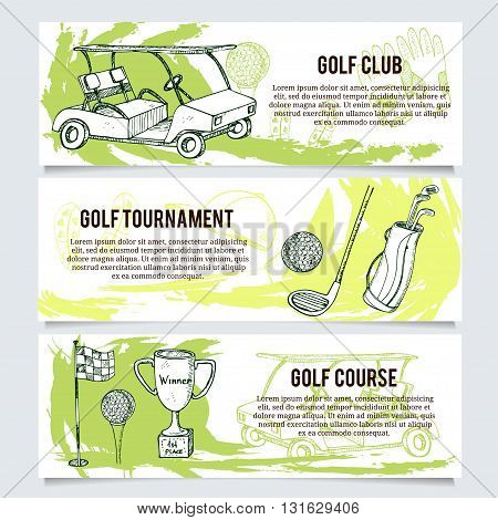 Golf banners or website header set for golf tournaments, organizations and clubs