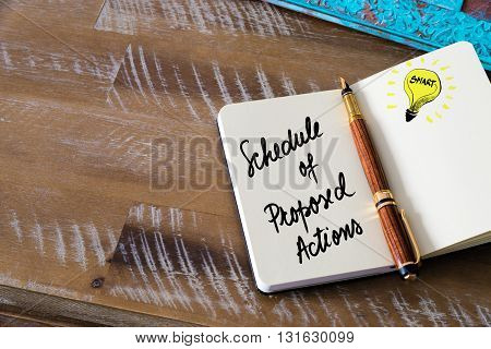 Handwritten Text Schedule Of Proposed Actions