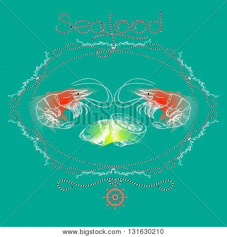 Vector seafood label with shrimps silhouette, lemons, helm and word  Seafood on aquamarine background.