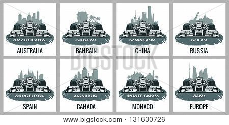 Set vintage poster Grand Prix. Barcelona Spain Montreal Canada Monte Carlo Monaco Baku Europe Melbourne Australia Sakhir Bahrain Shanghai China Sochi Russia. Vector for poster web.