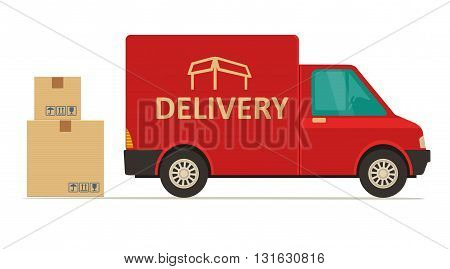 Red delivery van with shadow and cardboard boxes with fragile signs. Product goods shipping transport. Flat vector illustration for web icon banner info graphic.