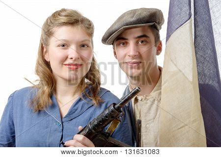 a young couple of french resistant to the liberation in 1944
