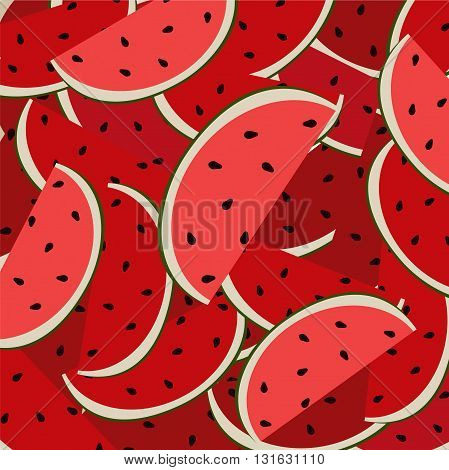 Cute red watermelon slice design background, seamless, pattern, wallpaper, background. Vector art, vector image, vector design, vector illustration.