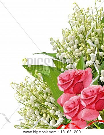 The buds of flowers roses. Holiday card. lilies of the valley