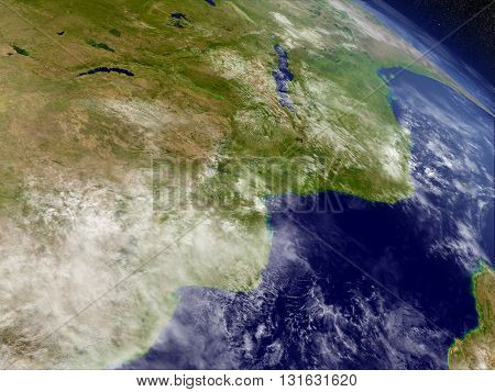 Mozambique And Zimbabwe From Space