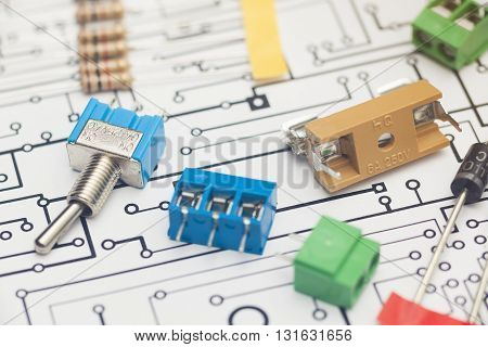 Detail of Electronic components and PCB design