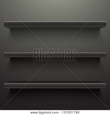 Dark background shelves with light from the top