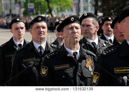 Orel Russia - May 9 2016: Celebration of 71th anniversary of the Victory Day (WWII). Bailiffs marching closeup