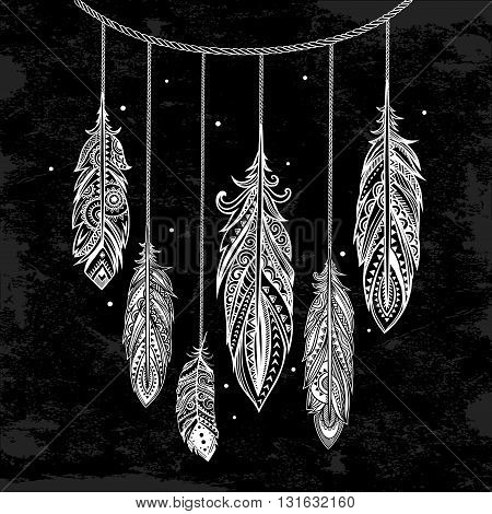 Vintage vector ethnic tribal bohemian feather background