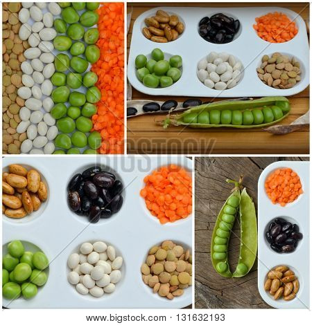 Bowls of various legumes (chickpeas, green peas, red lentils, canadian lentils, indian lentils, black lentils, green mung beans). Collage