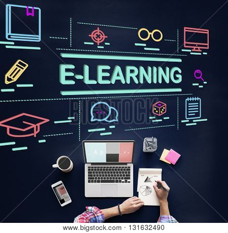 E-Learning Education Networking Website Study Concept