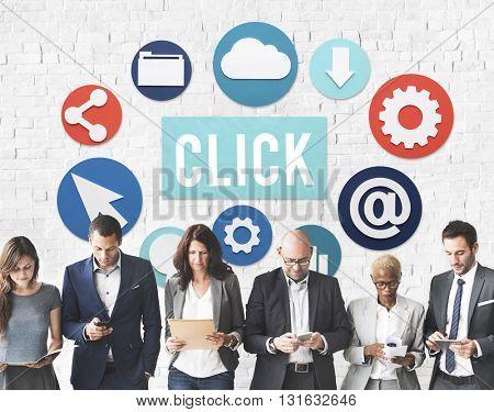 Click Network Button Communication Concept