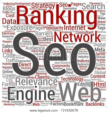 Concept or conceptual search engine optimization, seo abstract square word cloud isolated on background