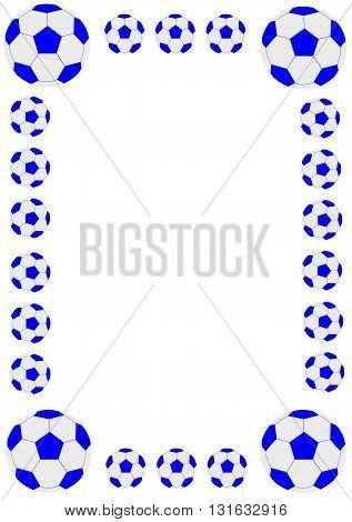 Football frame with blue football - vector illustration.