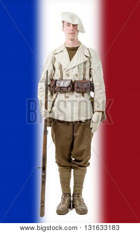 a french mountain soldier with a uniform 40s