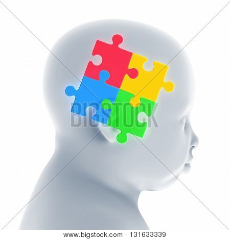 Child Head with Jigsaw Puzzle Illustration. 3D render