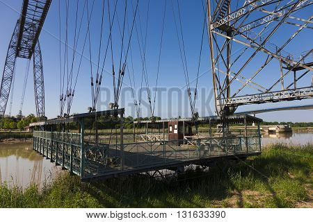 Transporter bridge crossing the Charente Rochefort and Echillais Charente-Maritime France