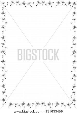 Border with dandelion seeds - vector illustration.
