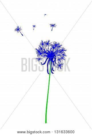 Blue dandelion silhouette - modern vector illustration.