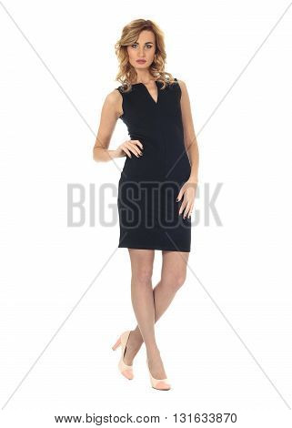 Full Length Portrait Of Women In Dress Isolated