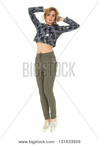 Full Length Portrait Of Women In Pants Isolated