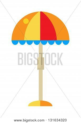 illustration of colorful beach umbrella on white background and beach umbrella relax sea vector. Beach umbrella holiday tropical tourism and sunlight color beach umbrella outdoor sunny protection.