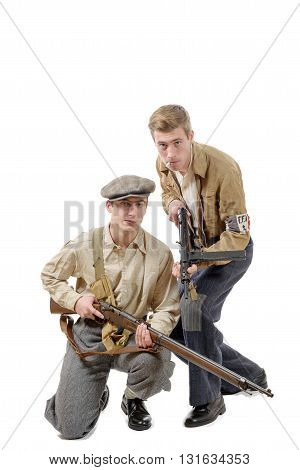 two young resistant to the liberation in 1944 isolated on white background