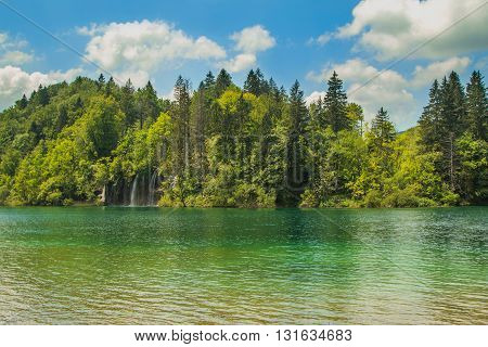 Beautiful landscape, turquoise water in the Plitvice Lakes National Park in Croatia