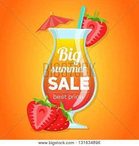 Fresh summer drink and berries vector illustration. Easy to edit design template.