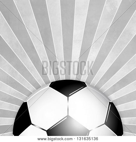 Soccer ball background black white with gray rays