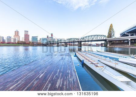 pier with boats,cityscape and skyline of portland
