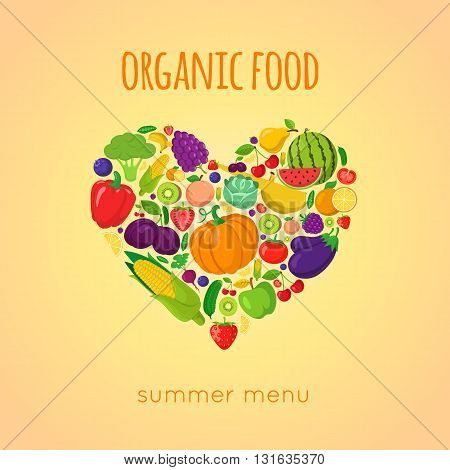 Organic product sale template. Vector fruit and text.