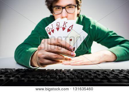 Guy Showing Card Fan