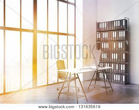 Office Interior With Bookshelf Toning