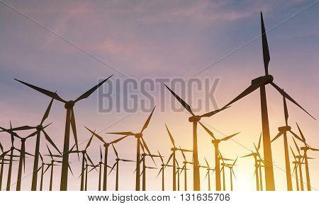 Backlit Windmills