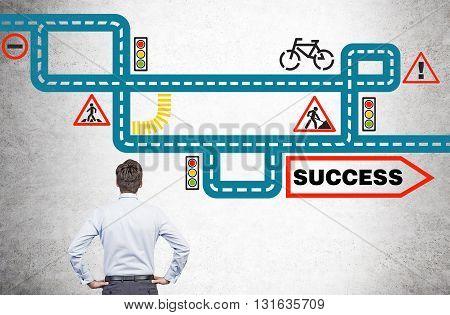 Man Looking At Success Sketch