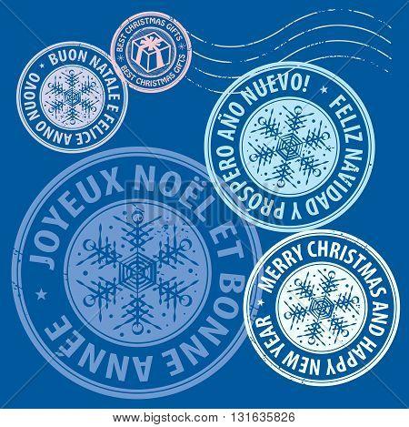 Christmas stamps set on blue background, vector illustration