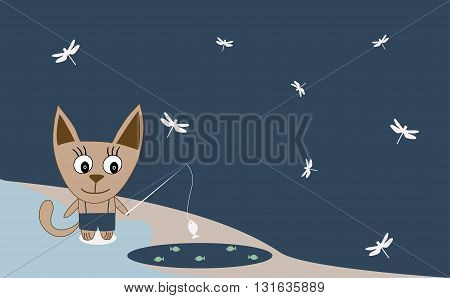 Illustration Of A Cat Fishing - Vector