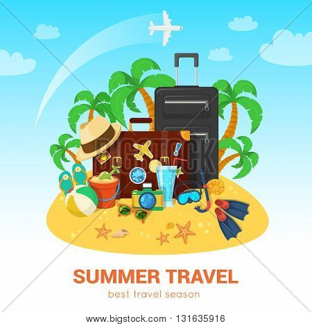 Summer tropic vacation background design. Vector composition.