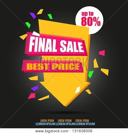 Final Sale Arrow Banner Design. Vector Sale Illustration for Promotional brochure booklet poster shopping flyer discount banner.