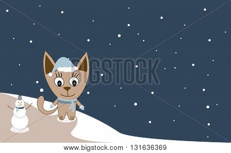 Cute Cat And Snowman. Christmas Card Template. Let It Snow Lettering. Doodle Winter Vector Illustrat