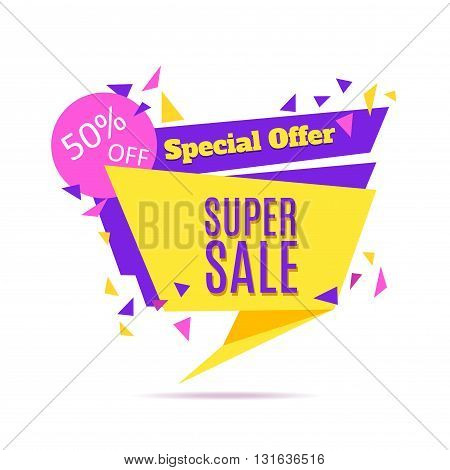 Super Sale and Special Offer paper banner. Sale background. Vector illustration.