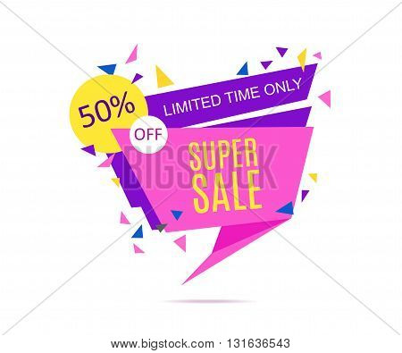 Super Sale Banner. Limited Time Only.Vector illustration.