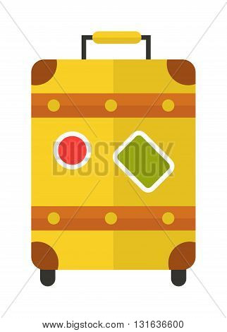 Large polycarbonate yellow suitcase isolated on white and yellow suitcase travel voyage. Yellow suitcase handle baggage and Yellow suitcase tourist packing. Yellow suitcase plastic vacation bag.